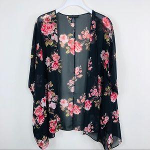Forever21 Black Floral Kamono Size 2x